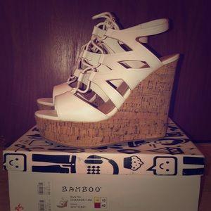 White platform sandals. Like new!